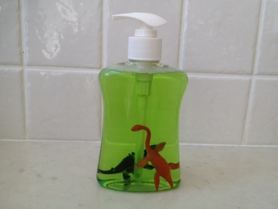 character handwash, making hand washing fun, kids dinosaur gel, hand gel with plastic animals, toilet training fun, dinosaur handwash gel