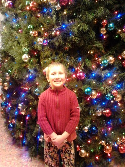 Child in front of big Xmas tree