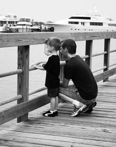 Father and Son on Jetty