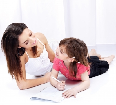 Mother with Child Writing