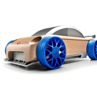 Wooden toy car with blue wheels